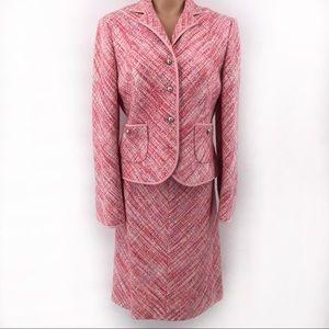 Talbots Pink Tweed Plaid Skirt Jacket Suit